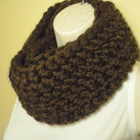 Dark Chocolate Brown Cowl Infinity Circle Scarf Neckwarmer Extra Thick Extra Chunky