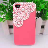 iphone 4 ,4S hard case cover with Pearl lace shell for apple iPhone 4 Case, iPhone 4S Case, iPhone 4 GS case,case cover -265