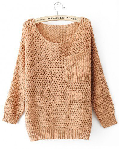 Round Neck Yellow ochre knitted long sleeve pullover   style zz10080503 in