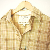 Handmade Men's Elbow Patch Button-Up Shirt in Yellow and Brown Plaid SMALL