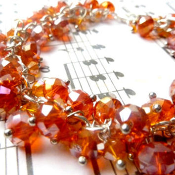Cluster bracelet orange crystal bracelet fall colors bright silver crystals