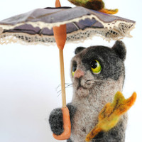 Needle Felted toy, Cat under an umbrella and autumn leaves, soft sculpture, OOAK