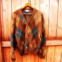 vintage burnt sienna & teal wool button down cardigan. Dayton's. 100% virgin wool. oversized. size L to XL. unisex. fall fashion