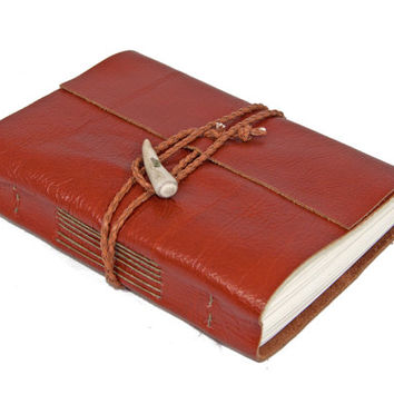Light Brown Leather Wrap Journal with Antler Closure - Ready to Ship -