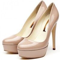 Rupert Sanderson Harper In Nude Patent High Heel Platform Pumps - LoLoBu