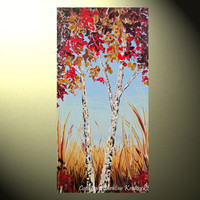 """Original Abstract Landscape Painting Autumn Trees Palette Knife Blue Brown Gold Red Fall Birch Trees 48x24"""" -Christine"""