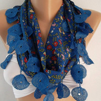 ON SALE Cotton Scarf  - Blue