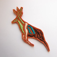 Iron On Patch - Tribal Print Embroidery - Deer Faux Taxidermy - Faux Deer - Deer Applique