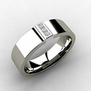 Palladium Wedding Band Mens Diamond From TorkkeliJewellery On
