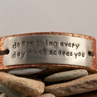 Glitter leather bracelets- 2 inch wide cuff, custom message, quote cuff