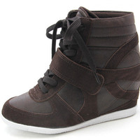 Lace Up Velcro Strap Ankle Wedge Concealed Sneakers Trainers Shoes Boots Womens