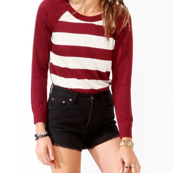 Striped Pointelle Panel Sweater