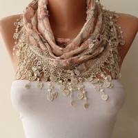 Autumn Scarf - Light Salmon and Beige Scarf with Trim Edge