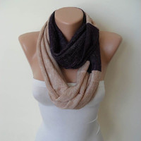 Two Colors - Infinity Scarf - Soft Tricot Fabric - Dark Purple and Light Brown - Cowl - Loop Scarf by Umbrella Design