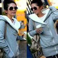 New Fashion Korea Women Hoodie Fleece Jacket Coat Warm Outerwear Hooded Zip