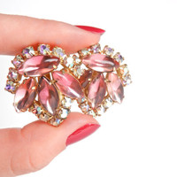 Vintage Gold Tone Clip On Earrings - Pink & Clear Rhinestones / 1960s / Pastel Pretty