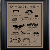 Know Before You Grow Moustache Funny Humorous Movember Quote Subway Art Print Mustache