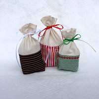 Reusable Gift Bag, Fabric Gift Bag, Christmas Stripes