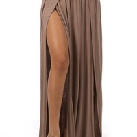Banded Maxi Skirt w/ Slit Detail-Taupe