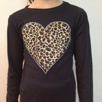 Large Cheetah Print Heart on Black Long Sleeve TShirt