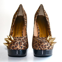 Gold Spiked Suede Pumps Cheetah Print by VileBroccoliFur on Etsy