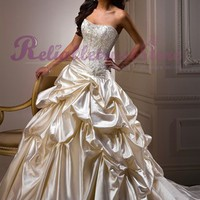 Sexy A-line Sweetheart Satin Beach Wedding Dress-$364.98-ReliableTrustStore.com