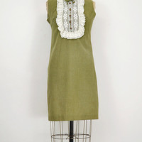 vintage 1960s dress / vintage 60s mod dress / green mod 60s dress / babydoll 60s dress