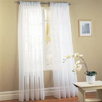 "Amazon.com: 2 Piece Solid White Sheer Window Curtains/drape/panels/treatment 60""w X 84""l: Home & Kitchen"