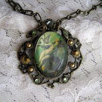 Green Fairy Art Nouveau Necklace with cabochon and crystals