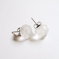 Ice Glass Earrings Studs