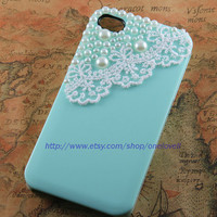 Lace with pearl ,Mint green case for Iphone case, Flower Rose Iphone 4 Case, Iphone 4S case, Hard Case Cover
