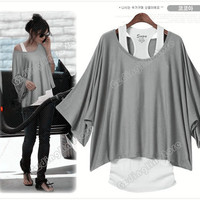 Women's Batwing Dolman Short Sleeve Loose Tops Vest T-Shirt Blouse S M L XL #069