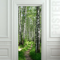"Wall Door STICKER birch forest road way passageway mural decole film poster 31x79""(80x200cm)"
