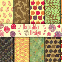 Autumn - Set of 12 Digital Scrapbook Paper - 12 x 12 inches