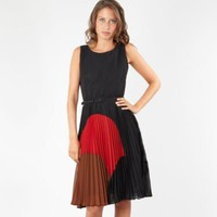 Black sun ray pleat colour block dress - Evening & party dresses - Dresses - Women -