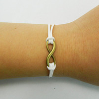 Infinity Wish Bracelet  ancient  Bronze karma bracelet light White wax cords,wax cords Adjustable bracelet