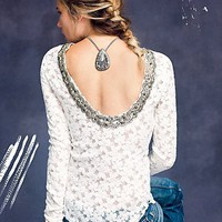 Free People Lace Fancy Low Back Top