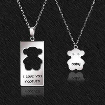925 Sterling Silver Bear Couple Necklace from gullei.com