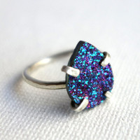 Blue and Purple Sparkling Druzy Handmade Ring in Sterling Silver