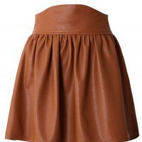 Camel Faux Leather Skater Skirt by Chic+ - New Arrivals - Retro, Indie and Unique Fashion