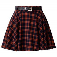 Orange Plaid Skater Skirt with Belt - New Arrivals - Retro, Indie and Unique Fashion