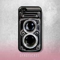 iPhone Case for iPhone 4 or 4S --Vintage Camera Dual Lens Black - Plastic or Silicone Rubber Case