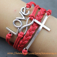 Silvery Love Bracelet Cross Bracelet Infinity Karma Bracelet Wish Bracelet Gift For Friend,Lover-N5645