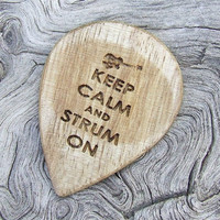 Laser Engraved Wood Guitar Pick - Handmade California Eucalyptus Premium Guitar Pick