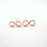 Mini Infinity Stud Earrings, rose gold