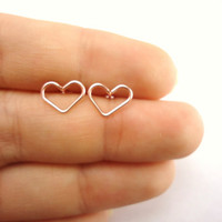 Pink Heart Stud Earrings, Rose Gold