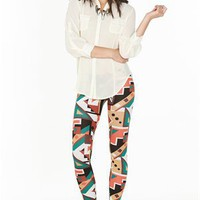 A'GACI Vegetable Color Geo Legging - BOTTOMS