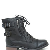 A'GACI Battle 03 Two Buckle Zipper PU Combat Boot - In Combat Mode