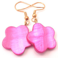 Earrings - Hot Pink Mother of Pearl Flowers Dangle on Gold Hooks
