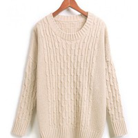 Beige Loose Winter Round Neck Women Knitting Sweater @MF1003be